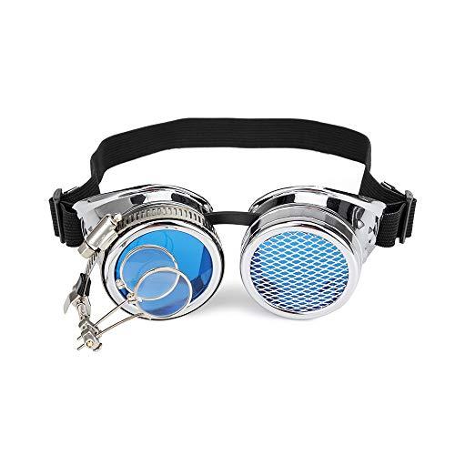 Vintage-Brille im Steampunk-Design, für Cosplay, Kaleidoskop, Okular, Kostüm-Zubehör Gr. Einstellbar, silberfarben