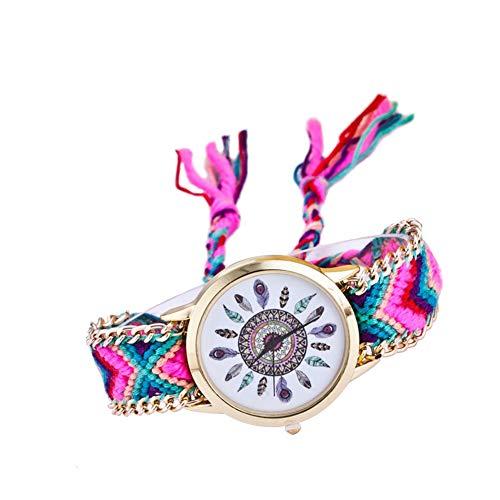 jingyuu Reloj de Pulsera Estilo Hippie Reloj de Cuarzo Mujer Diseño de tejiendo Reloj de Pulsera Mujer Patrón de Plumas Reloj de Cuarzo Vintage