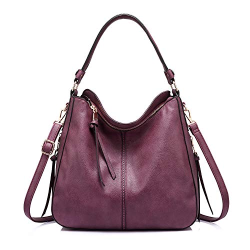 Realer Handtaschen Damen Lederimitat Umhängetasche Designer Taschen Hobo Taschen groß Mit Quasten Weinrot