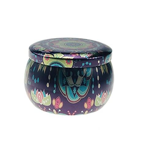 BMSYTY Vela Floral, Lata Puede Perfume a Mano Vela, Cera Natural de Soja, decoración del hogar (Color : E)