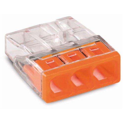 Preisvergleich Produktbild Wago Verbindungsdosenklemme 3polig 2273-203 Compact 0, 5-2, 5qmm transp. / or,  Orange,  1x1, 5x0, 5 cm,  100