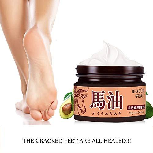 Crème réparatrice pour les mains et les pieds à l'huile de cheval hydrate la peau fissurée des mains baume au talon pour la peau rugueuse et sèche aux pieds gercés Yiitay