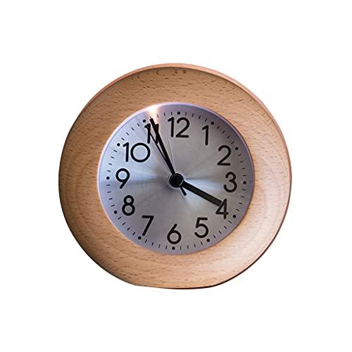 Decorativo Reloj Reloj de silencio de madera redondo pequeño reloj despertador luminoso escritorio reloj sala de estar dormitorio decoración retro pequeño reloj de escritorio 4.37 pulgadas Reloj de Me