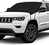 Unzano Windshield Snow Cover, Car Snow Cover Thicker Windproof Folding Design, Windshield Cover for Ice with Hooks & Mirror Covers for Car/Truck/SUV/Universal Large Size