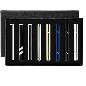 YUTUKI ネクタイピン ビジネス タイピン メンズ ファッション 真鍮製 8本 日常仕事 結婚式 シンプル タイピン スーツ 高級 ギフトボックスを提供