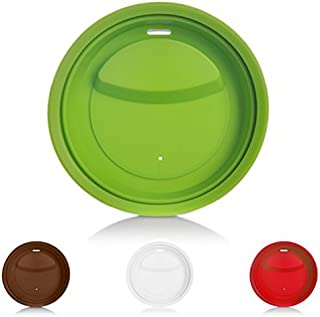 4 Pack Silicone Cup Lids, Jewelvwatchro Food Grade Coffee Mug Lid BPA Free, Anti-dust Cup Mug Covers Replacement Lids [Red Green White Coffee]