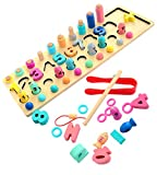 Toyshine 4 in 1 Kids Wooden Number Puzzle Sorting Learning Toys - Math Stacking Blocks and Shape Sorter Game - Preschool Education Montessori Toys for 3-5 Year Toddlers
