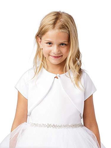 Big Girl's White Satin Short Sleeved Borelo First Communion Flower Girl Shrug 7894 Size 8