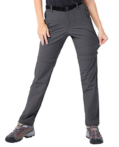 MIER Women's Quick Dry Convertible Cargo Pants Lightweight Stretchy Hiking Travel Pants, 5 Zip Pockets, Water Resistant, Graphite Grey, 8