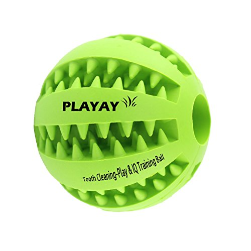 IQ Treat Ball [Chew Toy] for Dogs & Cats [Dental Treat][Bite Resistant] Durable Non Toxic- BPA...