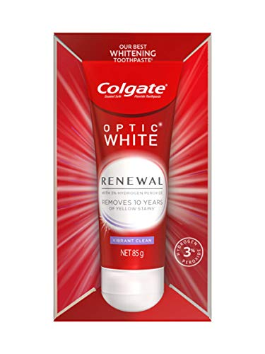 Colgate Optic White Renewal Teeth Whitening Toothpaste 85g, Vibrant Clean, Enamel Safe, with 3% Hydrogen Peroxide