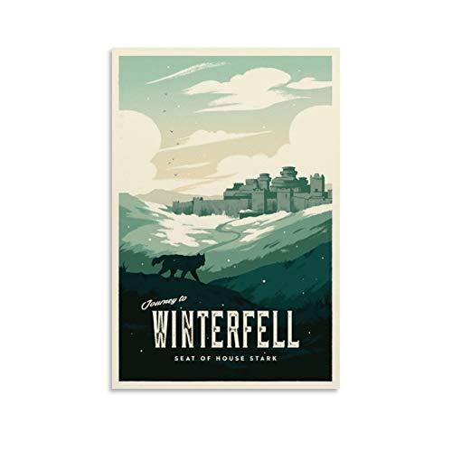 HUAIREN Winterfell GOT - Póster retro de viaje – Juego de Tronos – Póster vintage impresión de lienzo para decoración de habitación, habitación familiar, dormitorio, baño, póster estético 30 x 45 cm
