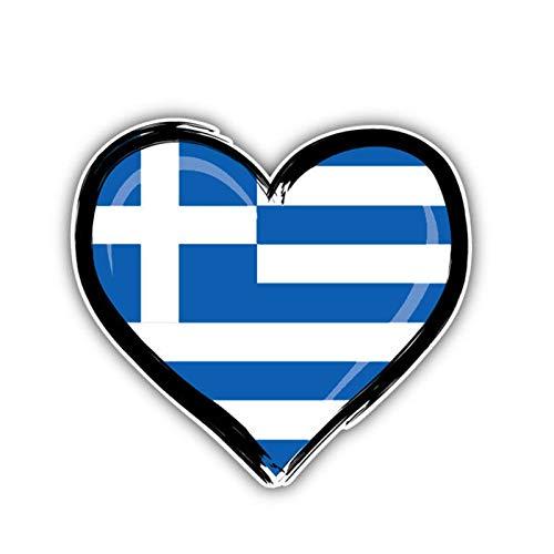 SUNYU Griechenland Flagge Herz Fenster Auto Aufkleber PVC Aufkleber 12,7 cm * 11,6 cm