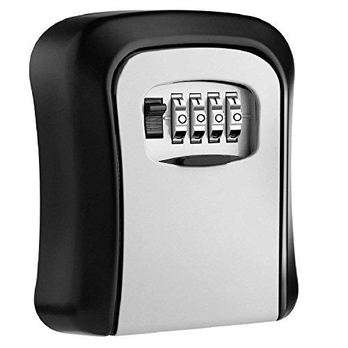 HEYB Caja de cerradura con llave Cerradura de aluminio montada en la pared Caja fuerte con llave de 4 digitos Caja de cerradura con llave para almacenamiento de interiores y exterior