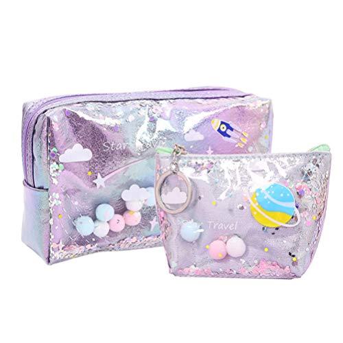 TENDYCOCO 2 Stück Make-up Tasche Geldbörse Set Hologramm Kulturbeutel Geldbörse für Frauen Mädchen-lila