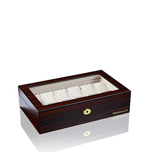 DESIGNHÜTTE® Uhrenbox/Aufbewahrung Auckland 12 Mahagoni für 12 Armbanduhren