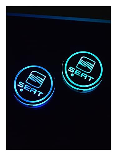 OUIPP Posavasos LED Coche 2 unids para Asiento Alhambra Ibiza León MII Toledo Altea Cordoba ATECA Arosa Arosa Logo LED TAPOR DE LA Tapa LED RGB Matera de Agua Luz de la coastera Carga USB