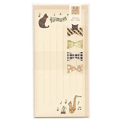 黒猫だより 一筆レターセット【音楽と黒猫】 LI235-380