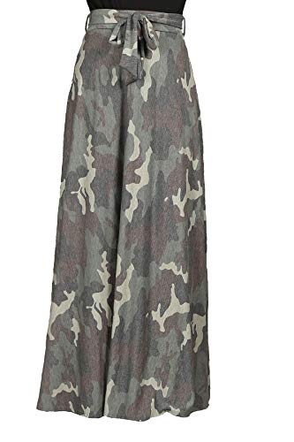 Women's Juniors High Waist Loose Fit Fashion Maxi Skirt in Camouflage Color Size M