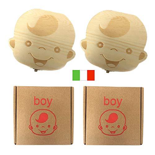 Tanden Box voor kinderen, Baby Tanden Opbergdoos Bewaar Organizer Houten Dozen Gepersonaliseerde bladverliezende Souvenir Box,Aanpassen Gepersonaliseerde Baby Tanden Collectie Box (Italië)