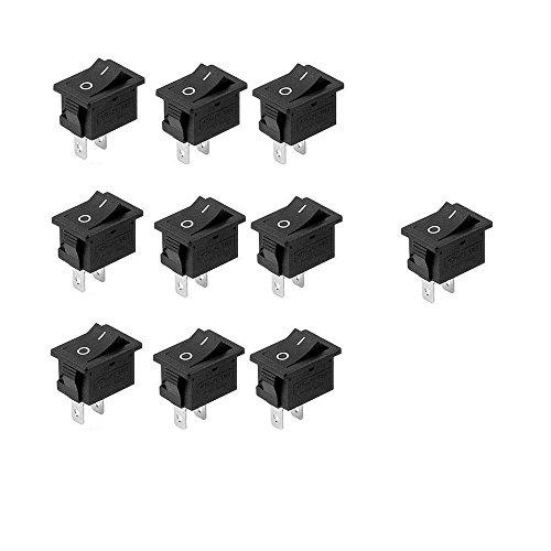 10 mini interruptor basculante SPST de 10 x 15 mm, 2 pines, 3 A, 250 V, 6 A, 125 V, funda s654 (10 unidades)
