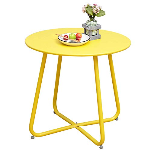 Grand Patio Steel Patio Side Table, Weather Resistant Outdoor Round End Table, Yellow