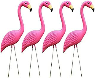 MIYU 4 Pack Large Flamingo Garden Stakes Plastic Bird Statues Yard Decor For Outdoor Lawn Decoration Pink