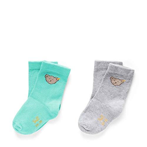 Steiff Socken 2er-Pack Chaussettes, Vert (Aqua Green 5007), 22 Bébé garçon