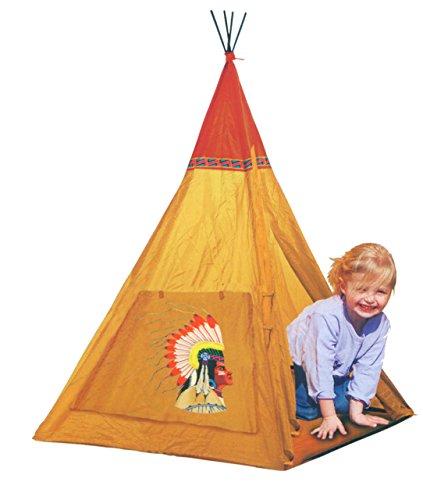 Kiddus KI60112 Tienda de campaña/tipi/wigwam/casa/carpa de jugar plegable INDIOS Y VAQUEROS de tela, estimula la imaginación y aventuras. Para interior y exterior
