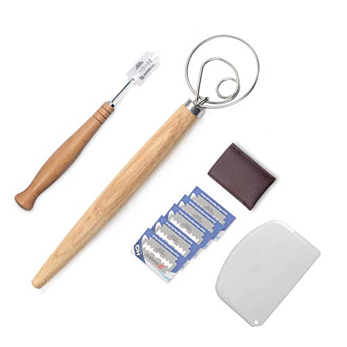 Bread Lame Dough Scraper and Danish Dough Whisk Set With 5 Replacement Blades and Leather Protective Cover Stainless Steel Bread Making Tools for Pastry Baking Cake Dessert Sourdough Pizza