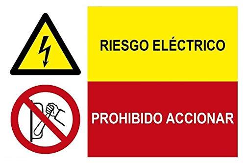 MovilCom® - Adhesivo combinado ¡PELIGRO! RIESGO ELECTRICO/PROHIBIDO ACCIONAR 600X400m señal informativa (ref.PRD4300407)