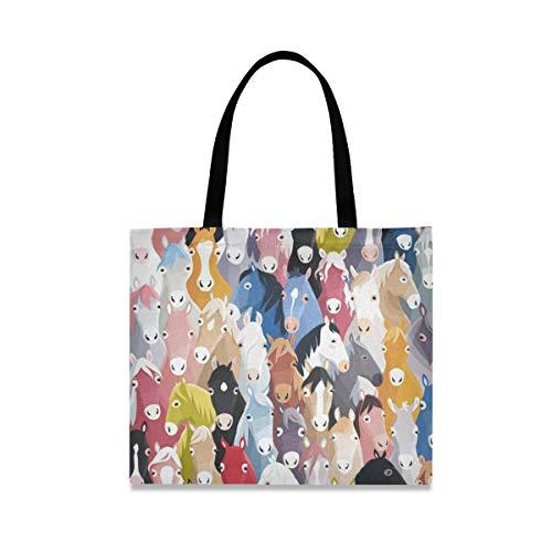 (VAWA) エコバッグ 買い物袋 可愛い おしゃれ 馬柄 カラフル ショッピングバッグ 帆布 キャンバストート 軽量