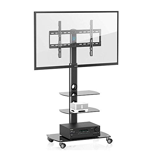 N/Z Daily Equipment Soporte de TV para 37 65 Pulgadas 4K LCD LED Pantalla de televisión Universal sobre Ruedas Soporte Giratorio Ajuste de Altura Curvo Negro