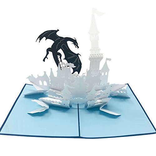 Dragon Castle - WOW 3D Pop Up Greeting Card - Amazing, Awesome Gifts for Friends, Family, Lovers - Suitable for All Ages, Adults, Kids - Hand Assembled, Fold Flat, Envelope Included