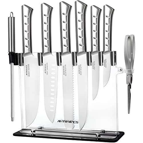 Bloc àcouteaux Ensembles de Couteaux Cuisine Professionnel Couteaux Cuisine Set Couteaux de Chef Support Acrylique 9 pièces lot de couteaux en acier carbone inoxydable allemande ANTINIVES