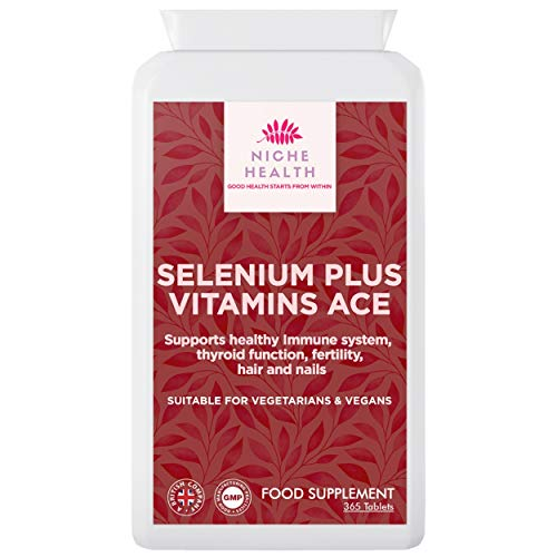 Selenium Plus Vitamins A-C-E 365 Tablets - for Healthy Immune System, Thyroid Support, Fertility, Hair & Nail Growth. Food Supplement Suitable for Vegetarian and Vegan Diet by Niche Health