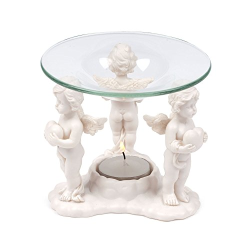 pajoma Engel Duftlampe Herzensengel aus Kunstharz und Glas, L 11,8 x B 11,8 x H 10,5 cm
