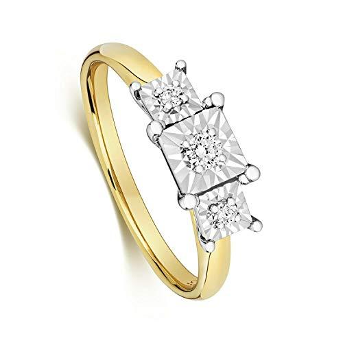 Three Stone Diamond Ring Yellow Gold Illusion Set Certificate Sizes H-Z Hallmark - Size: Y