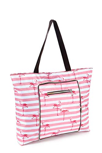 Women Beach Tote Utility Bag with Zipper, Pink Flamingo Foldable Cute Large Swim pool Waterproof Bag for Travel, Gym, yoga, Mom in Law Female Friend Sister Wife Girlfriend Good Gift