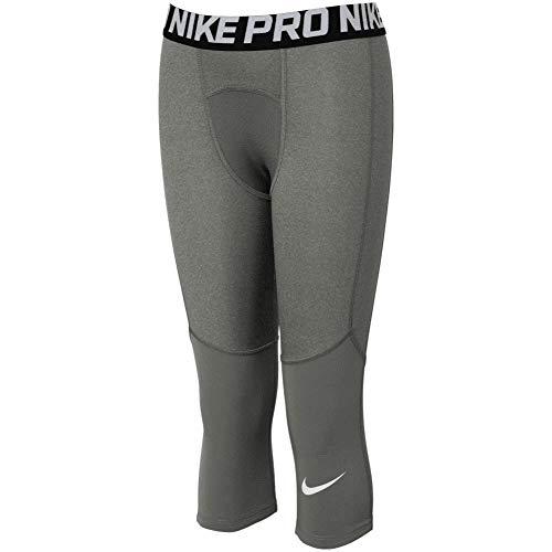 Nike Pro Boy`s 3/4 Printed Training Leggings (Carbon Heather(BV3506-091)/White, Medium)