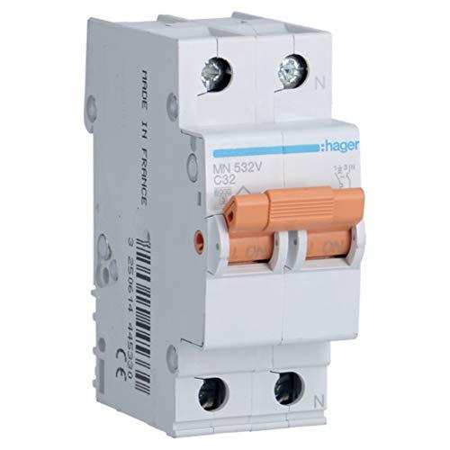 Hager MN532V Interruptor automático magnetotérmico, Blanco