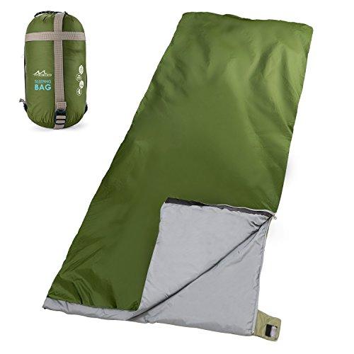 MoKo Outdoor Sacco a Pelo Portabile Multifunzionale Leggero Impermeabile, Misura 190cm * 85cm, a Forma di Busta, per Campeggio, Alpinismo, Viaggio, Escursionismo - Verde Scuro