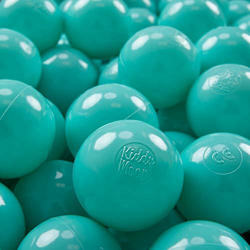 KiddyMoon 100 ∅ 7Cm Bolas Colores De Plástico para Piscina Certificadas para Niños, Turquesa Claro