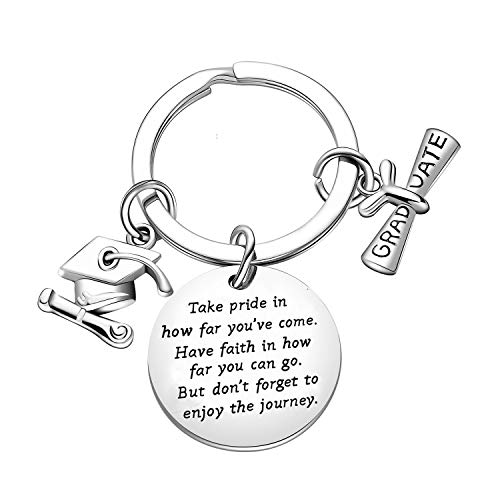 Graduation Gift Take Pride in How Far You Have Come Keychain Inspirational Letters Graduates Jewelry (Take Pride in)