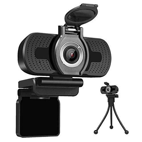 AudioVideo360 Webcam Full HD 1080p per PC, Portatile Notebook con Microfono Stereo, Clip di Montaggio, Copriobiettivo e Treppiede Inclusi