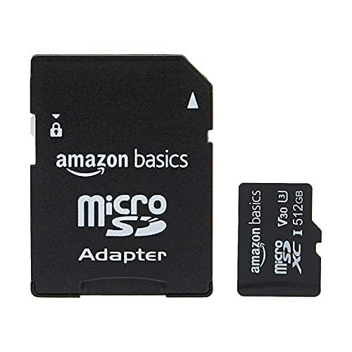 Amazon Basics - Tarjeta de memoria microSDXC con adaptador de tamaño completo,...