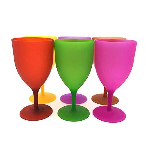 Without Copas de Vino inquebrantable Copa de Vino Gigante 6pcs / Set plástico Copa de Vino cáliz cóctel de champán Vasos de Colores for el Partido del Vidrio Esmerilado de Picnic Bar Bebida