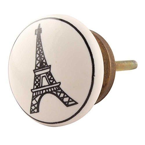 India nshelf fabriqué à la main 6 pièces Céramique Tour Eiffel Plat artistique Boutons de tiroir armoire Commode Tire Meuble Armoire Porte Poignées fait à la main Design vintage look Kid-137
