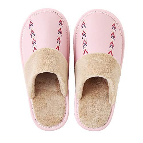 YQQMC Pantuflas de algodón para interiores de piel cálida, antideslizantes, impermeables, antiincrustantes, cálidas y cómodas, para mujer, suela antideslizante (color: rosa claro, tamaño: 26 cm)