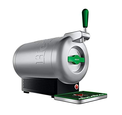 Krups The Sub Heineken VB650E10 - Beer shooter, 2 L fresh beer 15 days, up to 2º, energy efficiency A +, silent, ready-to-serve indicator, Gray / Steel (Refurbished)